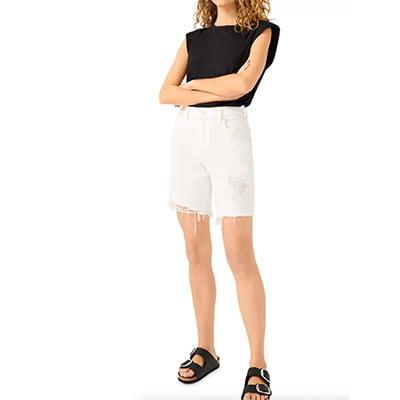 7 For All Mankind White Boyfriend Shorts