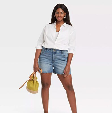 Ava & Viv Women's Plus-Size Destructed Midi Jean Shorts