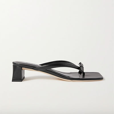 By Far Bibi Bow-Embellished Crinkled Glossed-Leather Sandals