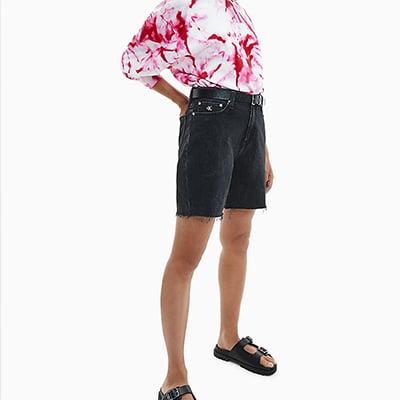 Calvin Klein Black Wash Denim Mom Shorts