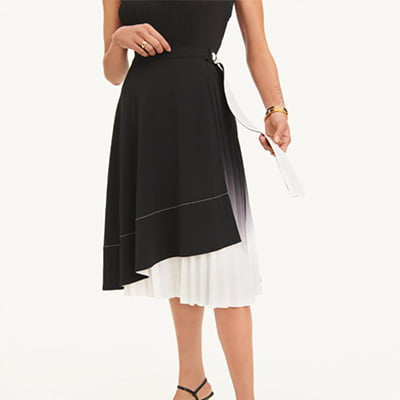 DKNY Asymmetrical Colorblocked Wrap Belted Skirt