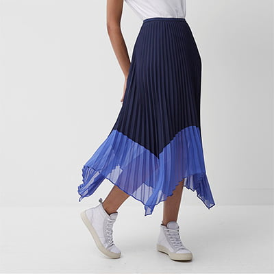 French Connection Pleated Midi Skirt with Contrast Hem