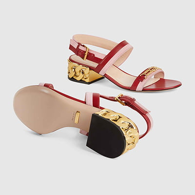 Gucci Mid-Heel Women's Sandal with Chain-Shaped Heel