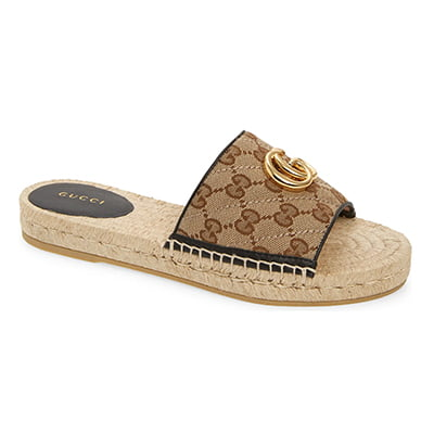 Gucci Pilar Original GG Canvas Espadrille Slide Sandal