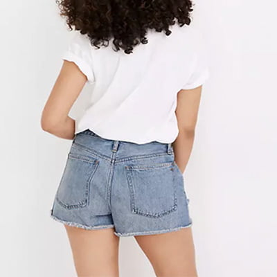 Madewell Curvy Relaxed Denim Shorts in Homecrest Wash: Ripped Edition