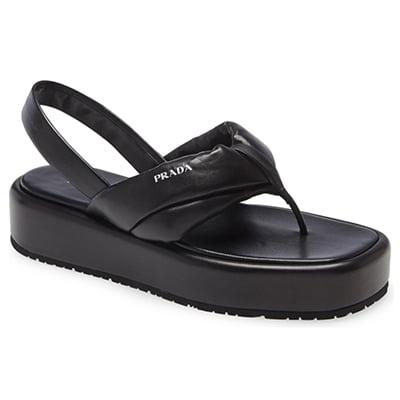 Prada Logo Platform Slingback Sandal