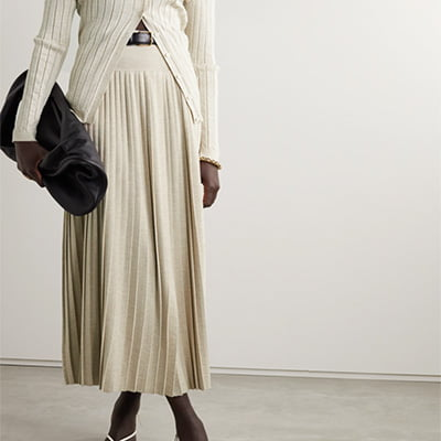The Row Coraline Wool & Silk Pleated Midi Skirt