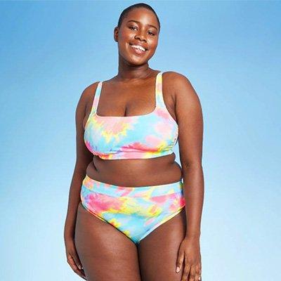 Xhilaration Tie-Dye Plus Size Ribbed High Waist Bikini