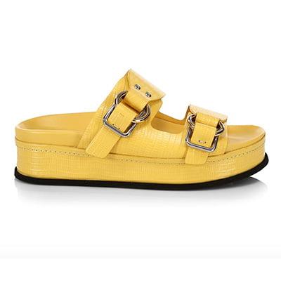 3.1 Phillip Lim Freida Buckle Lizard-Embossed Leather Flatform Sandals