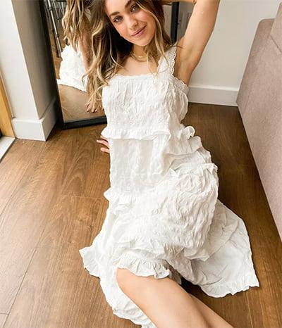 ASOS Design Tiered Ruffle White Maxi Dress