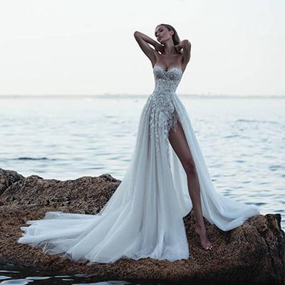 Alexandra Embroidery Beach Wedding Dress with Slit