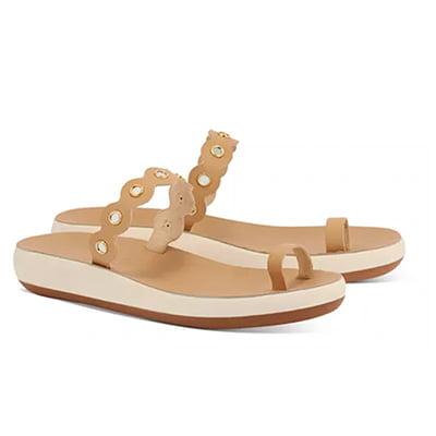 Ancient Greek Sandals Women's Thalia Scalloped Mirror Strap Platform Slide Sandals