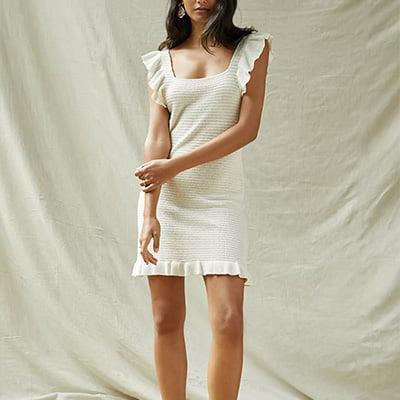 Anthropologie Ruffled Pointelle Mini Dress