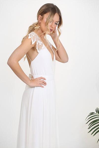 Barzelai Bohemian Open-Back Beach Wedding Dress