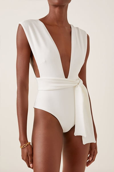 Belted Crepe One-Piece Swimsuit By Haight