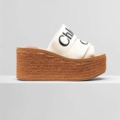 CHLOÉ Beige Woody Wedge Heeled Sandals