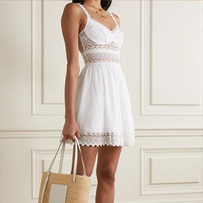 Charo Ruiz Cotton-Blend Poplin and Crocheted Lace Mini Dress