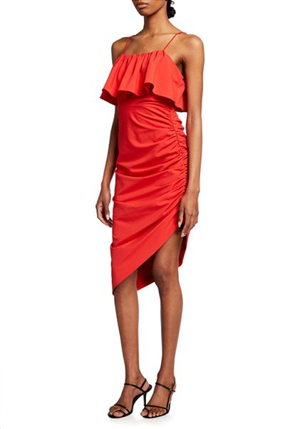 Christa Ruched Ruffle-Overlay Dress By cinq a sept