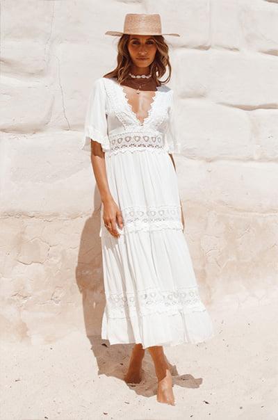 Cowboy Midi Dress White