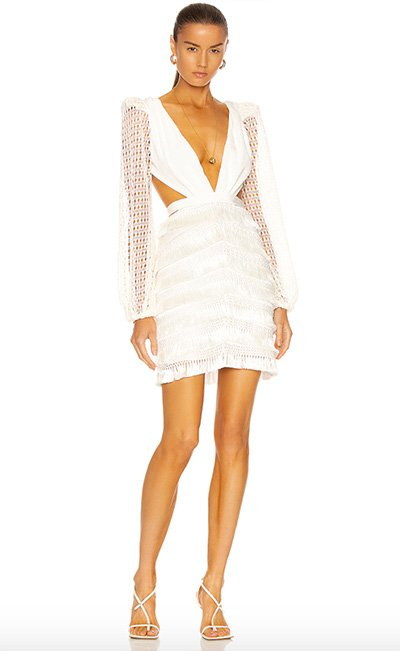 Cut Out Fringe Mini Dress BY Patbo