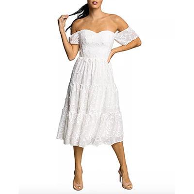 Dress the Population River Off-the-Shoulder Midi Dress