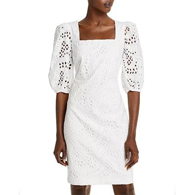 Eliza J Balloon Sleeve Eyelet Lace White Dress