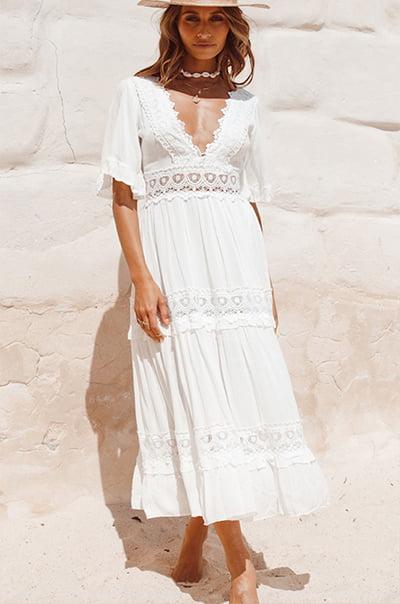 Fortunate One Cowboy White Midi Dress