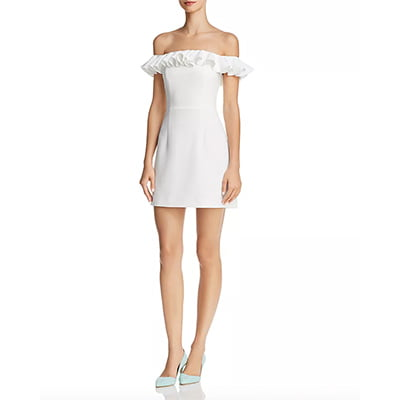 French Connection Whisper Light Ruffled Off-the-Shoulder White Dress