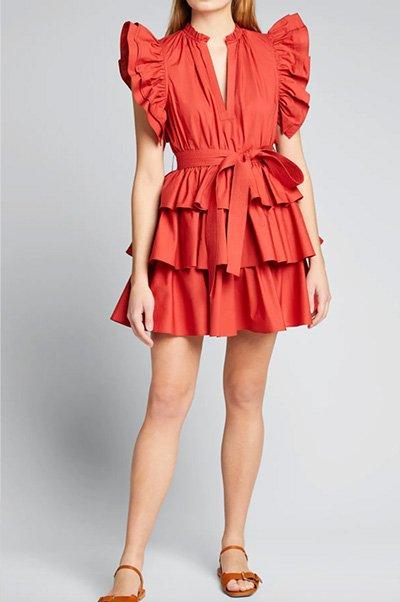 Honoria Tiered Mini Ruffle Dress By Ulla Johnson