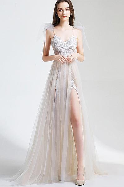 Jesus Bridal Embroidered Lace Beach Wedding Dress