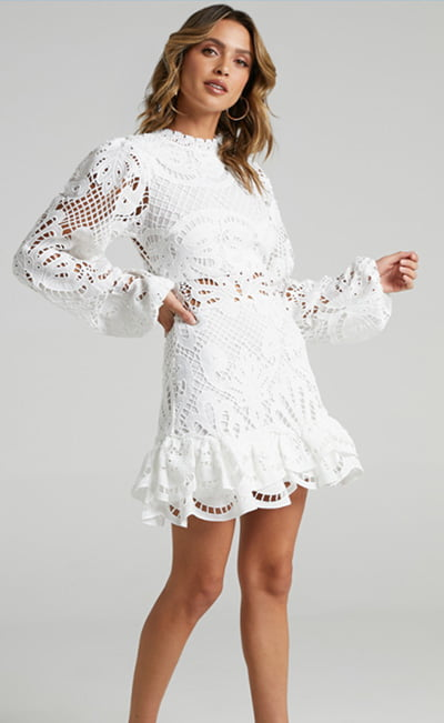 Kiss Me Now Dress In White Lace By Showpo