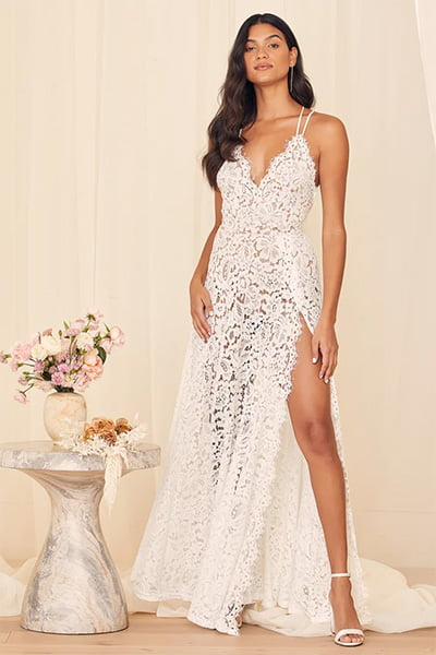 Lulus Love of Details White Lace Backless Wedding Dress