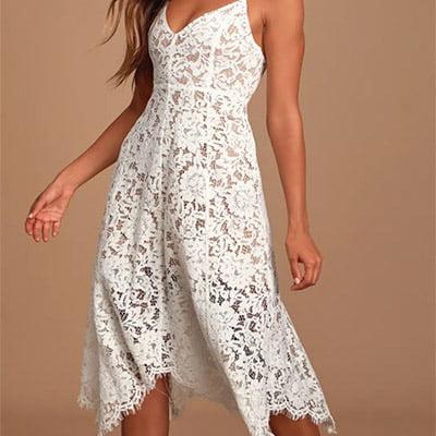 Lulus One Wish White Lace Midi Dress