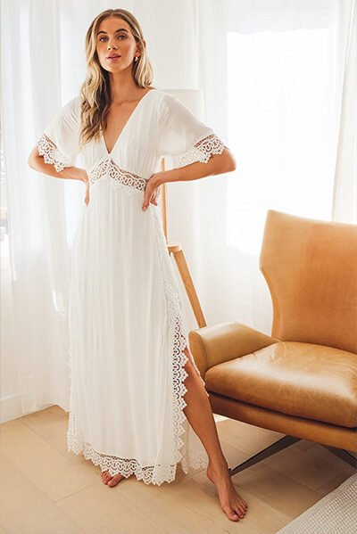 Lulus Sweeten the Occasion White Lace Maxi Dress