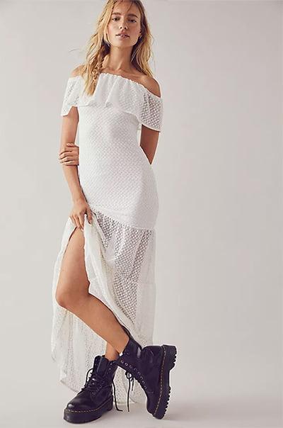 Nightcap Beaux Lace Positano White Maxi Dress