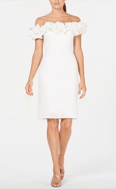 Off-The-Shoulder Ruffle Sheath Dress By Calvin Klein