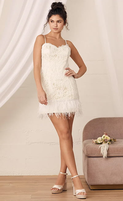 Opulent Evenings White Lace Feather Mini Dress By Lulus