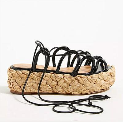 Paloma Barcelo Lace-Up Espadrille Platform Sandals