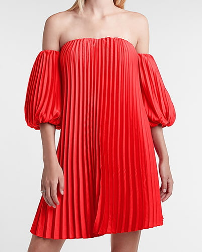Pleated Belted Off The Shoulder Trapeze Dress