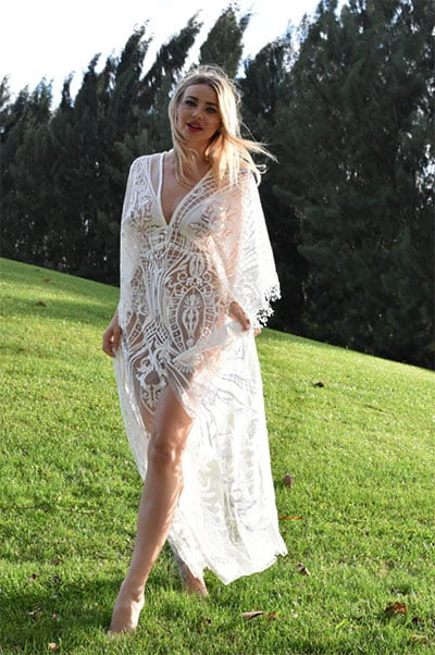 Reve Couture Bohemian Beach Wedding Dress with Lace Embroidery