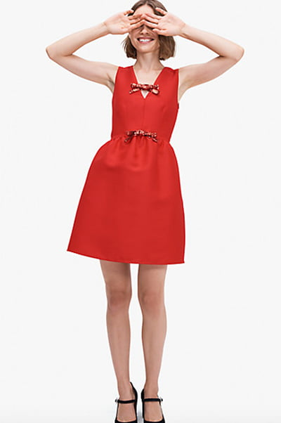 Sequin-Bow Mikado Dress By Kate Spade