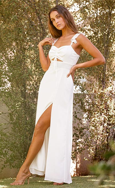 The Way to Love White Ruffled Maxi Dress By Lulus