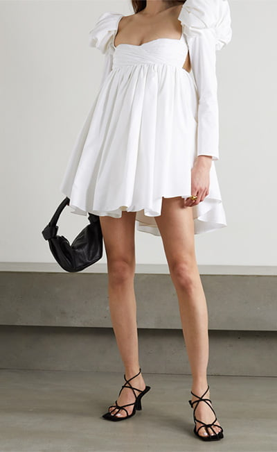 Tracy crystal-embellished ruched cotton-poplin mini dress By khaite