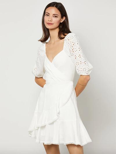 BCBGMAXAZRIA Willow Surplice Ruffle Dress