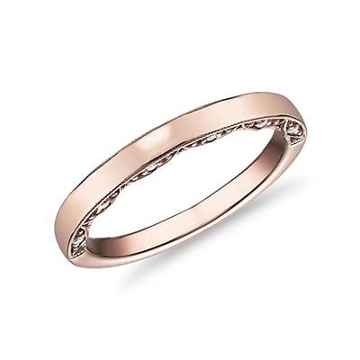 Blue Nile Diamond Pave and Milgrain Profile Wedding Ring