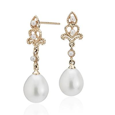 Blue Nile Freshwater Cultured Pearl Vintage-Inspired Drop Earrings
