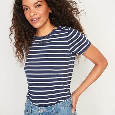 EverWear Striped Short Sleeve Tee for Women