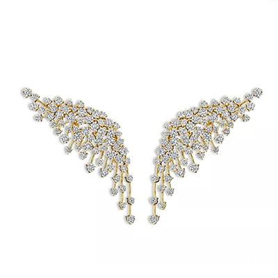 Hueb 18-Karat Yellow Gold Luminus Diamond Wing Drop Earrings