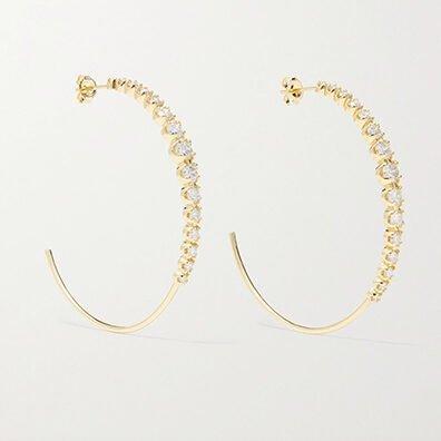 Jennifer Meyer 18-Karat Gold Diamond Hoop Earrings