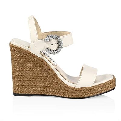 Jimmy Choo Mirabelle Crystal-Embellished Leather Espadrille Wedge Sandals